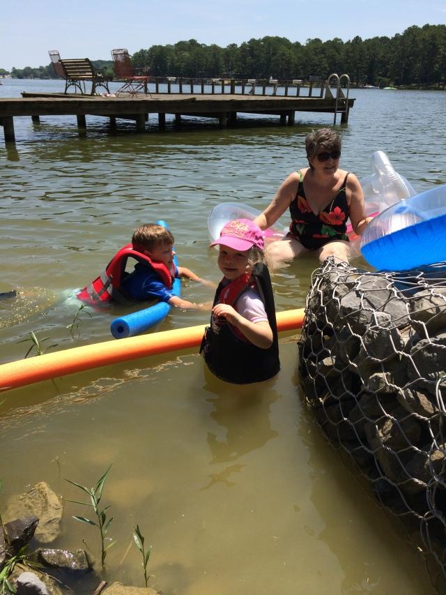 Judy Allen and grandkids swimming
