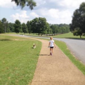 Angela Goodson Dialysis niece Kathlynn walking my dog, Max, at Berry College
