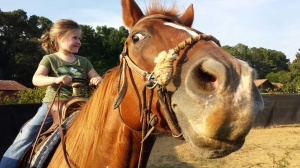 Jennifer Pilcer Cardiology daugher Katilyn learning to ride a horse