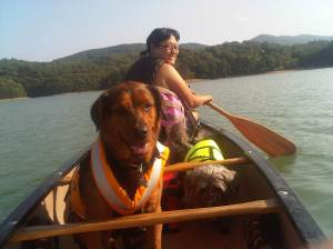 Sara Oliver Cartersville canoeing at Red Top with her dogs