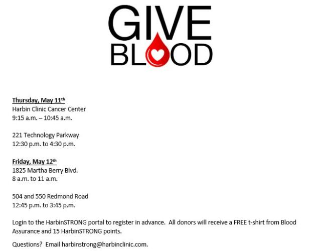may blood drive thurs fri