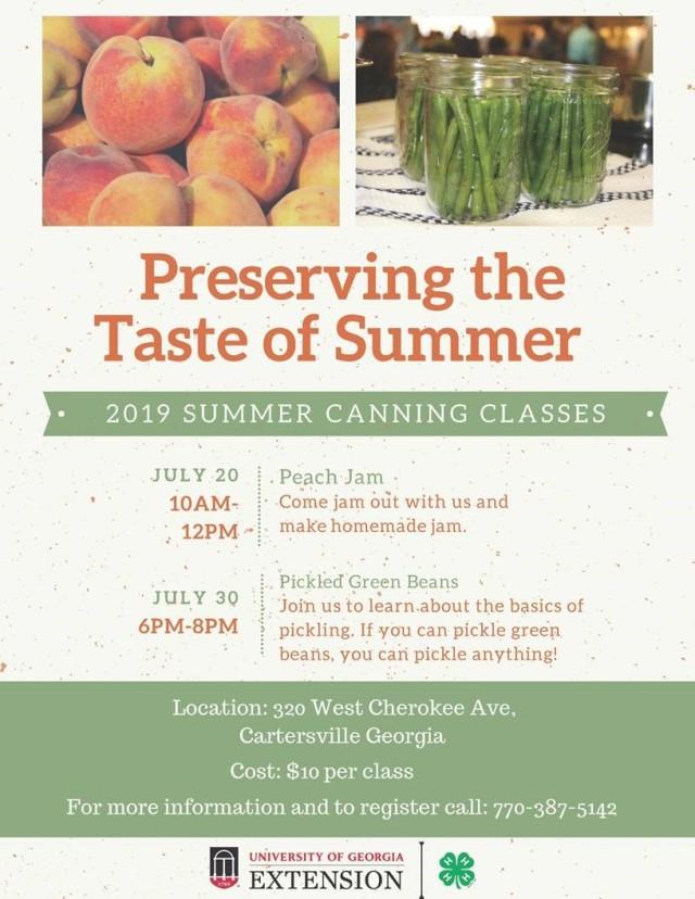 cartersville summer canning classes